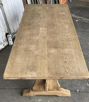 French Bleached Oak Trestle End Farmhouse Dining Table (8 of 19)