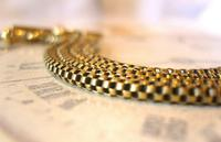 Victorian Pocket Watch Chain 1890s Antique Brass Double Albert With T Bar (6 of 11)