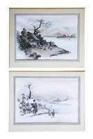 Pair of Antique Japanese Ink & Watercolour Paintings c.1910