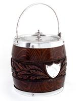 Victorian Oak and Silver Plated Barrel with a Carved Band of Oak Leaves and Acorns (2 of 4)