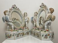 Pair of Small Dresden Victorian Style Porcelain Cherub Table Mirrors (45 of 60)