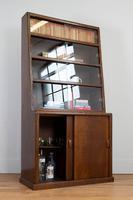 1930s Vintage Oak Glazed Bookcase Cabinet (15 of 16)