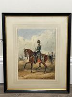 Military Watercolour Prince of Wales Own 10th Royal Hussars Guard on Horseback by Henry Martens c.1850 (3 of 53)