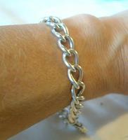 "Vintage Sterling Silver Bracelet 1976 Puffy Heart Padlock 6 1/2"" Length 21.8 Grams (12 of 12)"