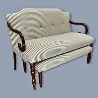 Buttoned Ticking Stripe Sofa & Footstool (11 of 11)