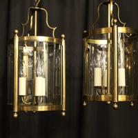 French Gilded Pair of Convex Triple Light Lanterns c.1930 (3 of 10)