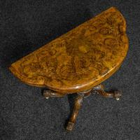 Victorian Burr Walnut Card Table with Green Baize (8 of 12)