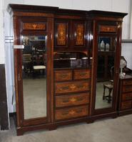 1900 Mahogany & Rosewood Compactum Wardrobe with Classical Scroll Inlay