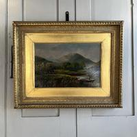 Antique Scottish Landscape Oil Painting of Punters on Loch by T Haywood c.1870 (2 of 10)