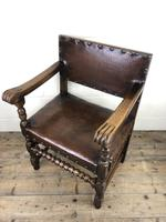 Set of Six Oak and Leather Dining Chairs (16 of 23)