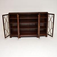 Antique Mahogany Chippendale Style Breakfront Dwarf Bookcase (3 of 11)