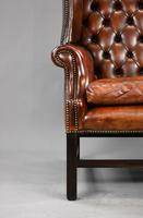 George II Style Brown Leather Hand Dyed Wingback Armchair (5 of 17)