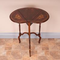 Edwardian Inlaid Rosewood Drop Leaf Occasional Table (6 of 23)