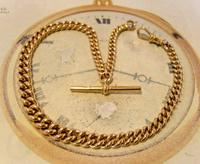 Victorian Pocket Watch Chain 1890s Antique Large 14ct Rose Gold Filled Albert With T Bar (4 of 11)