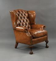 Fine Large Antique Deep Buttoned Leather Wing Chair (2 of 15)