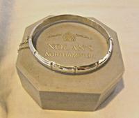 "Vintage Sterling Silver Bamboo Bangle Ornate Silver Bracelet 7 1/4"" Length"
