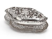 Edwardian Silver & Cut Glass Jewellery Jar with a Floral and Scroll Embossed Pull Off Lid