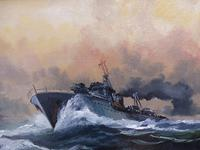 Oil on Board Battle on the Ocean Wave Listed Artist Dion Pears (11 of 12)