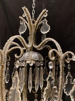 One Light Small Antique Italian Beaded Chandelier (3 of 11)