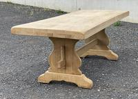 Bleached Oak Trestle End French Farmhouse Dining Table (5 of 22)