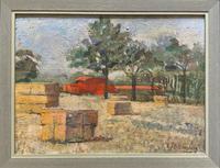 Lovely Original 20th Century Vintage Impressionist Harvest Haystack Landscape Painting