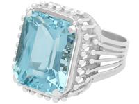 11.81ct Aquamarine & Platinum Cocktail Ring - Vintage c.1950 (7 of 9)