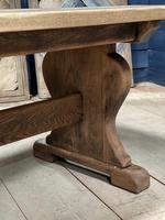 Larger French Bleached Oak Trestle Farmhouse Dining Table (21 of 21)