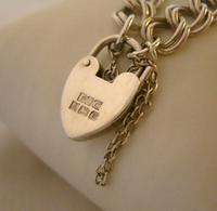 """Vintage Sterling Silver Bracelet 1976 Double Curb With Heart Padlock 7 1/2"""" Length (6 of 11)"""