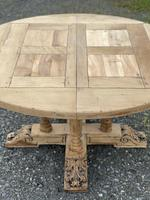 Large Round French Bleached Oak Farmhouse Table with Extensions (24 of 38)