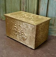 Embossed Brass Log or Coal Box, or Slipper Box with Tavern Scenes (2 of 6)