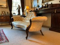 Stunning Quality Original 19th Century Carved Rosewood Cream Upholstered Sofa Settee (3 of 11)