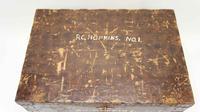 Victorian pine metal bound  pine travelling trunk c/w lock & key (9 of 10)