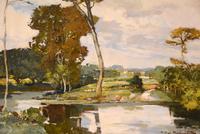 """Oil Painting by Francesco Pablo de Besperato """"A River Landscape"""" (3 of 6)"""