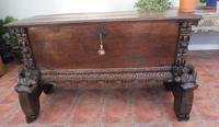 Rare Italian Walnut Carved Marriage Chest 1630