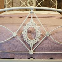 Mid Victorian Cast Iron Antique Bed in Cream (4 of 7)