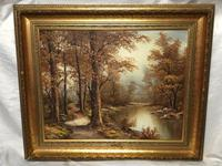 "20th Century Oil Painting Landscape Forest River ""View Through The Trees"" (20 of 20)"