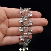 Art Deco Princess Cut Paste Sterling Silver Riviere Short Necklace (2 of 9)