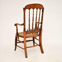 Antique Victorian Carved & Cane Seated Armchair (11 of 11)