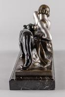 Stunning French Art Deco Bronze & Silvered Sculpture. Signed A.Ouline - Lady & Panther (6 of 11)