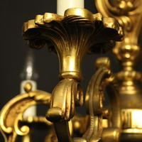 French 6 Light Gilded Bronze Antique Chandelier (4 of 10)