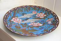 Antique Chinese Large Cloisonne Dish Decorated With Two Storks in Flight (9 of 10)