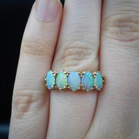 Vintage Opal Five Stone 9ct 9K Yellow Gold Band Ring (5 of 10)