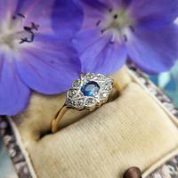 Art Deco 18ct Yellow Gold, Platinum, Sapphire & Diamond Ring (3 of 9)