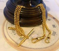 Vintage Pocket Watch Chain 1970 12ct Gold Plated Curb Link Albert With T Bar (2 of 10)