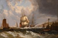 """Oil Painting by William Broome of Ramsgate """"Coastal Shipping"""" (2 of 7)"""