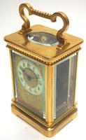 Good Antique French 8-day Carriage Clock Bevelled Case with Embossed Decorated Masked Dial (5 of 12)
