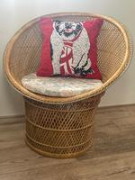 Vintage Boho Mid 20th Century Rounded Peacock Rattan Chair with Cushion (2 of 15)