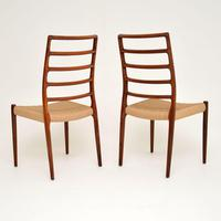 Pair of Danish Rosewood 82 Chairs by Niels Moller Vintage 1960's (3 of 13)