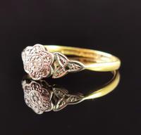 Antique Diamond Flower Ring, 18ct Gold & Platinum (8 of 11)