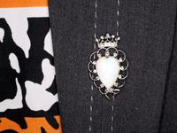 5.95ct Opal & 0.35ct Diamond, Platinum Brooch - Antique Victorian (2 of 9)